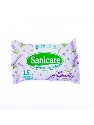 Sanicare Lavender Cleansing Wipes 15 Sheets (Pack of 5)
